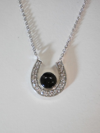 Sterling silver horseshoe pendant w czs 6mm equinite gem quick view aloadofball Gallery