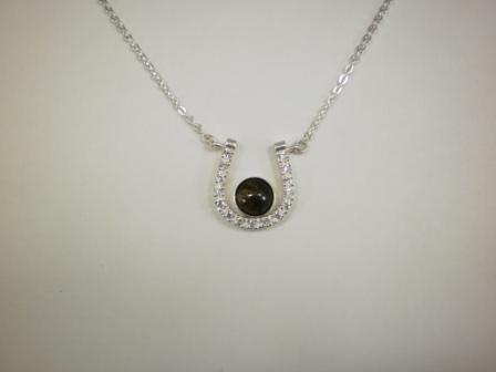 Sterling horseshoe pendant w czs 8mm equinite gem chain quick view aloadofball Gallery