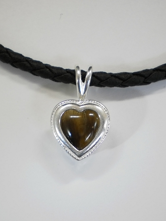 Sterling silver heart pendant w 10mm heart equinite w leather necklace quick view aloadofball Gallery