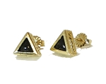 14 kt. Gold 6 mm Triangle Filigree Equinite Post Earrings