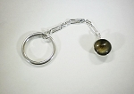 Sterling Silver 2 Sided 12mm Equinite Gem Key Chain
