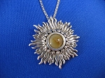 Sterling Silver Sunburst Pendant 8mm