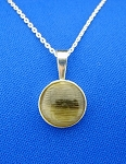 Sterling Silver 12mm Round Bezel Cup Pendant w/ Chain