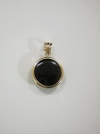 14 kt. Gold Round Plain Pendant, 14mm Equinite Gem