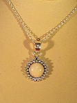 Sterling Silver Bead Border 8mm Gem Pendant w/ Chain