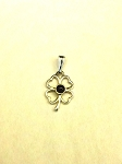 Sterling Silver 4 Leaf Shamrock 4mm Equinite Pendant w/ Chain
