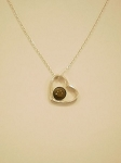 Sterling Silver Heart Pendant, 6 mm Equinite Gem & Chain