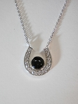 Sterling Silver Horseshoe Pendant w/ CZ's, 6mm Equinite Gem