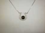Sterling Horseshoe Pendant w/ CZ's,  8mm Equinite Gem & Chain