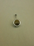 Sterling Silver Pendant 10mm Backset Plain Equinite Gem Pendant w/ Chain