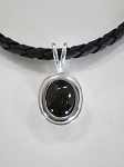 Sterling Silver Oval Pendant w/ 11 x 9mm Equinite Gem Leather Necklace