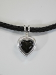 Sterling Silver Heart Pendant w/ 10mm Heart Equinite w/ Leather Necklace