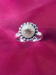 Sterling Silver Ladies Bead Border 8mm Equinite Gem Ring