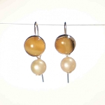 Sterling Silver Earwire 8 mm Equinite w Pearl dangle