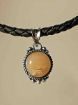 Sterling Silver 10mm Equinite Pendant w/ Leather necklace
