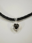 Sterling Silver Heart Pendant w/ 8mm Equinite w/ Leather Necklace