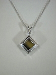 Sterling Silver Princess Pendant w/ 9mm Equinite Gem & Sterling Silver Chain