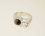 Sterling Silver 7 mm Offset nuget Equinite Ring