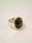 Sterling Silver 15 x20 mm Plain Oval Equinite Ring