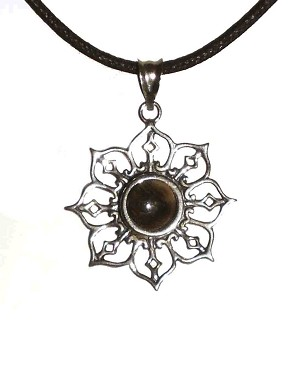 Sterling Filigree 8 mm Round Equinite Pendant and black cord.