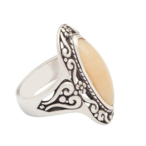 Sterling Silver 22 x 8 mm Filigree Oval Equinite Ring