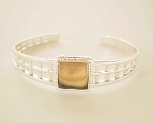 Sterling Silver 12 mm Square Cuff Bracelet