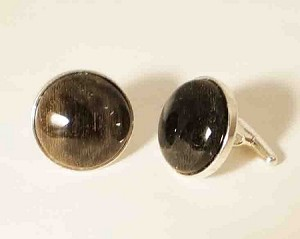 Sterling Silver 16 mm Round Equinite Cuff Links