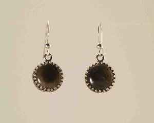 Sterling Silver 12mm Equinite Gallery wire Earrings.