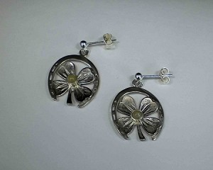 Sterling Silver Shamrock & Horseshoe w/ 3mm Equinite Gem Earrings