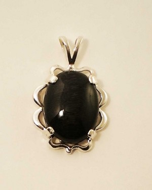 Sterling Silver 18 x 13mm Oval Equinite Pendant w/ Sterling chain