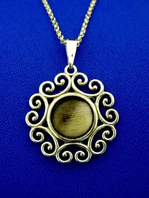 Sterling Silver Fancy Round 10mm Equinite Gem Pendant