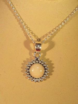 Sterling silver bead border 8mm gem pendant w chain aloadofball Images