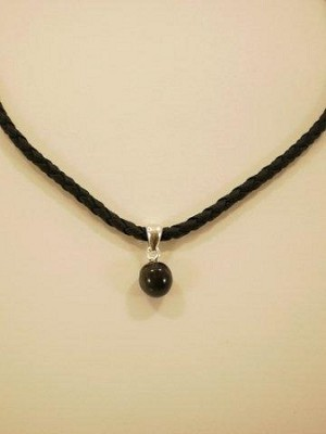 Sterling Silver 9mm Bead Equinite Gem  w/ Leather necklace