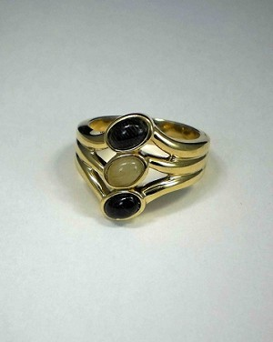 14 Kt. Yellow Gold, Three Oval Equinite Ring