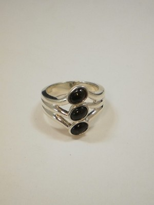 Sterling Silver Three Oval Equinite Ring