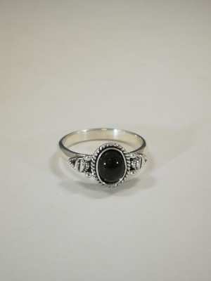 Sterling Silver Antique Oval Equinite Gem 7 X 5mm Ring