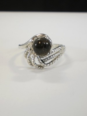 Sterling Silver Rope Swirl 6mm Equinite Gem Ring