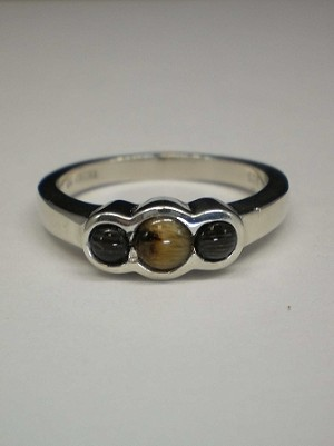 Sterling Silver 3mm Equinite Gem Ring