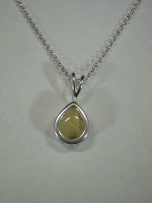 Sterling Silver 11 x 9mm Equinite Gem Pear Pendant & Sterling Silver Chain
